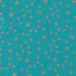Stretch jersey turquoise w silver stars