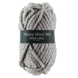 Garn heavy wool mix ljusgrå melerat