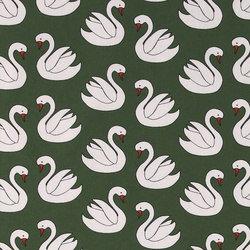 Stretch jersey dark green with swans
