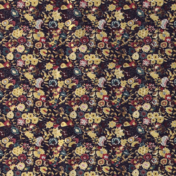 Cotton m. blue w red/petrol/gold flowers