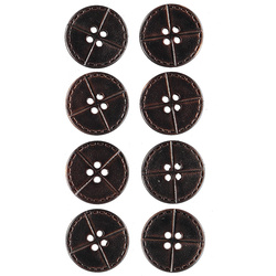 Button 4-holes 20mm dark brown 8pcs