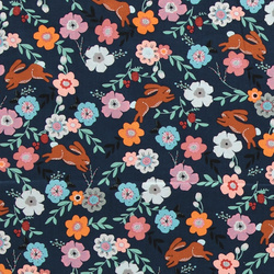 Woven cotton dusty blue w rabbit/flowers