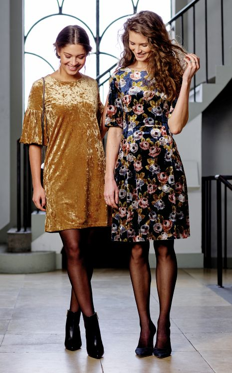 Party dresses in shiny stretch velour