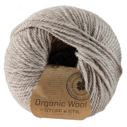 Knitting yarn organic wool lt.grey/brown
