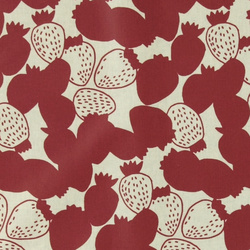 Woven oil cloth nature w red strawberry