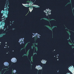 Woven crepe viscose navy w field flowers