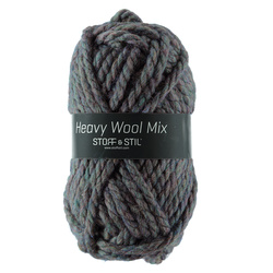 Garn heavy wool mix petrol/blå