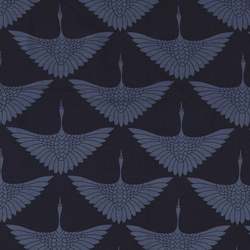 Woven viscose navy with crane print