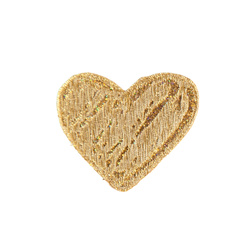 Patch heart 65x55mm gold 1 pc