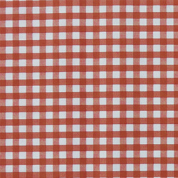 Non-woven oilcloth w red/white check