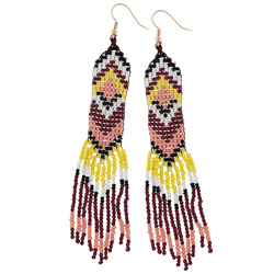 Earrings made with bead loom