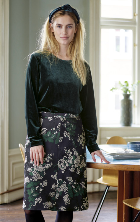 Velvet blouse and jacquard skirt