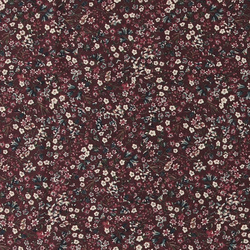 Cotton bordeaux w blue/white flowers