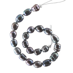 Beads freshwater 8-9mm grey 22 pcs