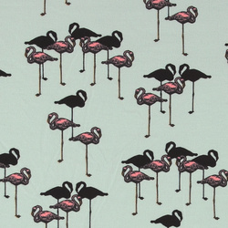 Stretchjersey, Mint mit Flamingos