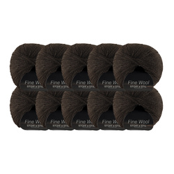 Yarn fine wool brown melange 10pcs